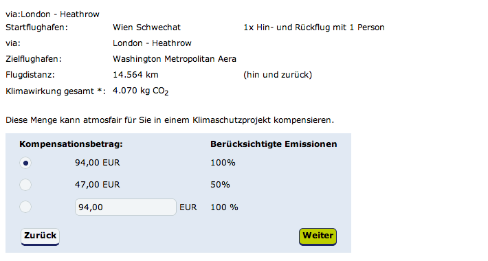 Berechnung CO2 Fussabdruck