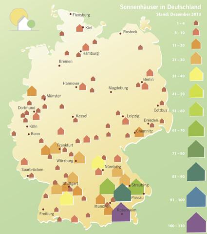 Rund 1.500 Sonnenhäuser gibt es in Deutschland bereit, deutlich mehr im Süden als im Norden. Grafik: Sonnenhaus-Institut e.V.