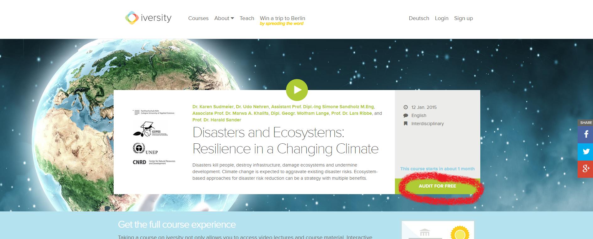 MOOC Onlinekurs Naturkatastrophe und Klimawandel