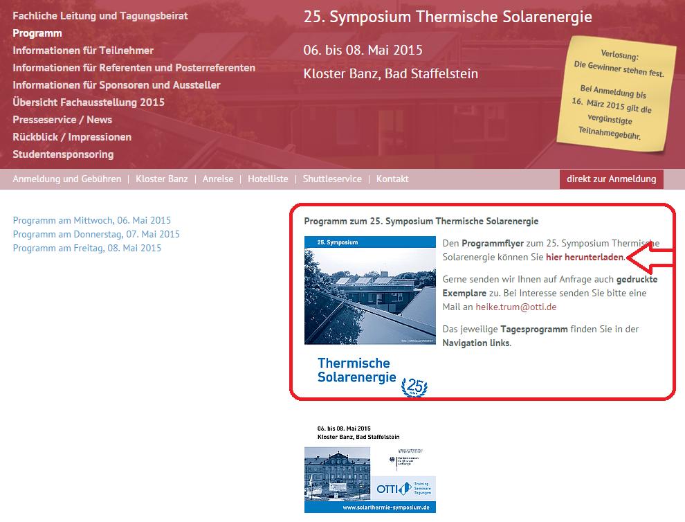 Symposium Solarthermische Energie Programm Download