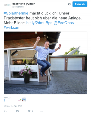 Am 13.10. 2016 twitterte co2online diesen Freudensprung von Carsten Mönkmeyer. Foto: twitter / co2online gmbh