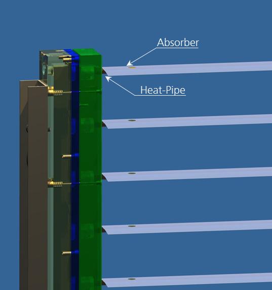 Fassadenkollektor mit solarthermischer Jalousie