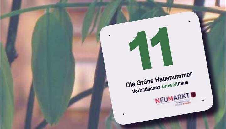 Grüne Hausnummer für Bauherren