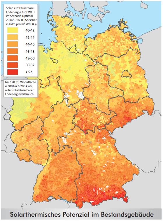 Karte zur Abfrage des regionalen Solarthermie-Potentials