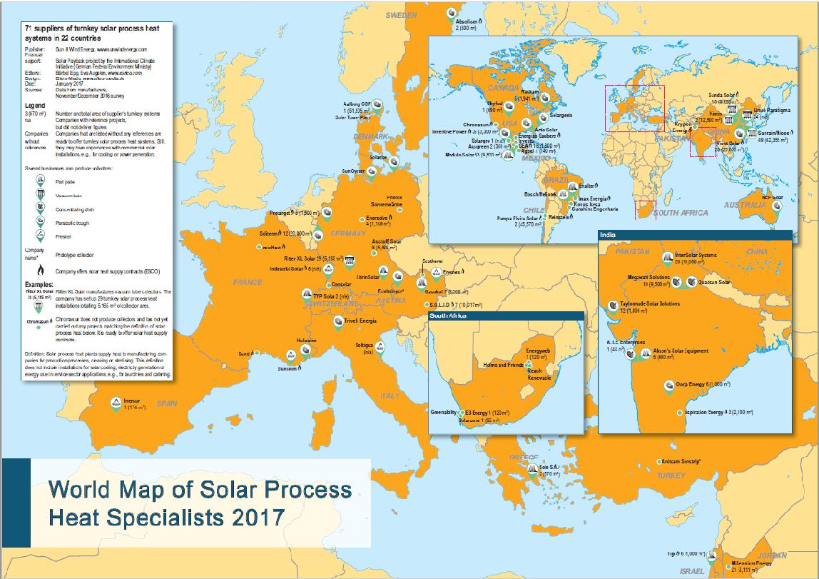 Weltkarte Solare Prozesswaerme