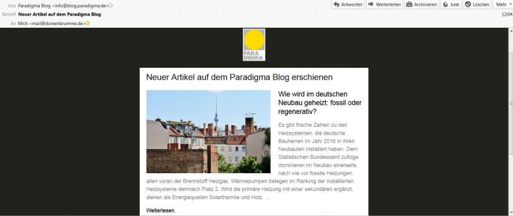neuer Blogbeitrag auf Paradigma Blog per Newsletter
