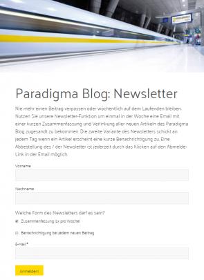 Anmeldeformular Paradigma Blog Newsletter leer