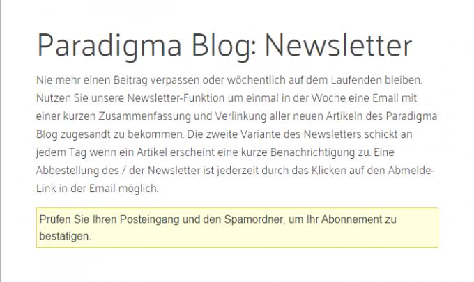 Paradigma weist auf Mail zur Paradigma Blog Newsletter Anmeldung hin