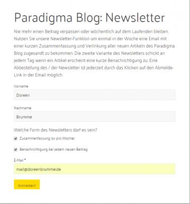 Anmeldeformular Paradigma Blog Newsletter ausgefüllt