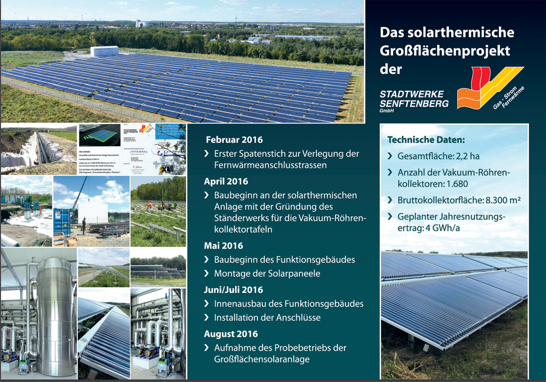 Flyer zur Solarthermie-Anlage Senftenberg