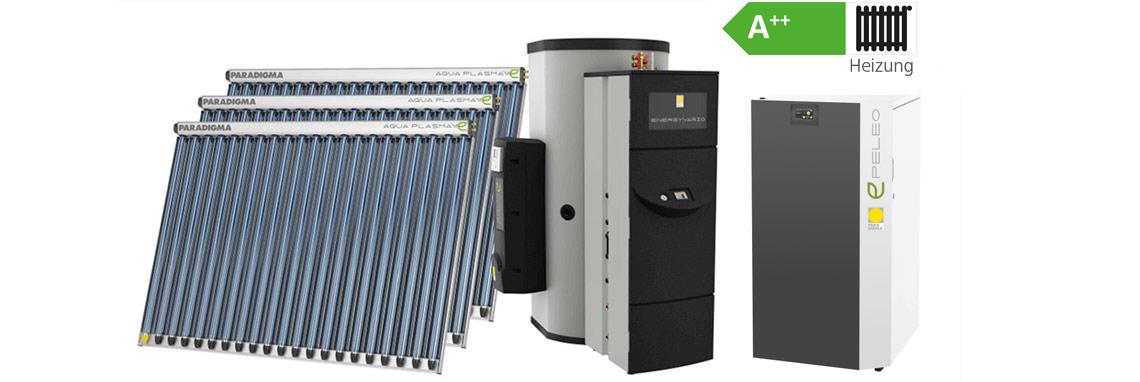 Paradigma: Pelletkessel PELEO plus Solarthermie-Kollektoren plus Wärmespeicher im Paket