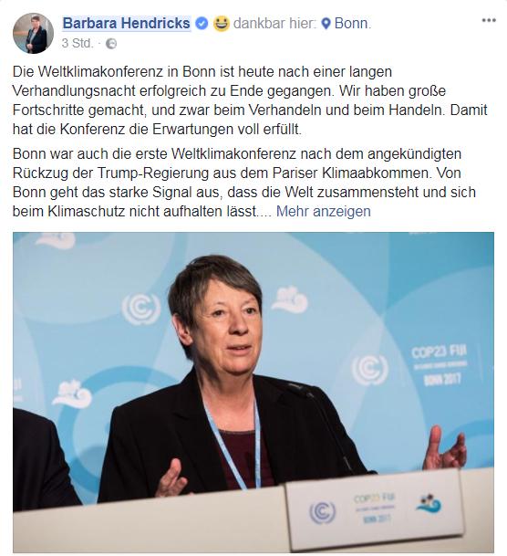 Barbara Hndricks COP23-Ergbenisse Facebook