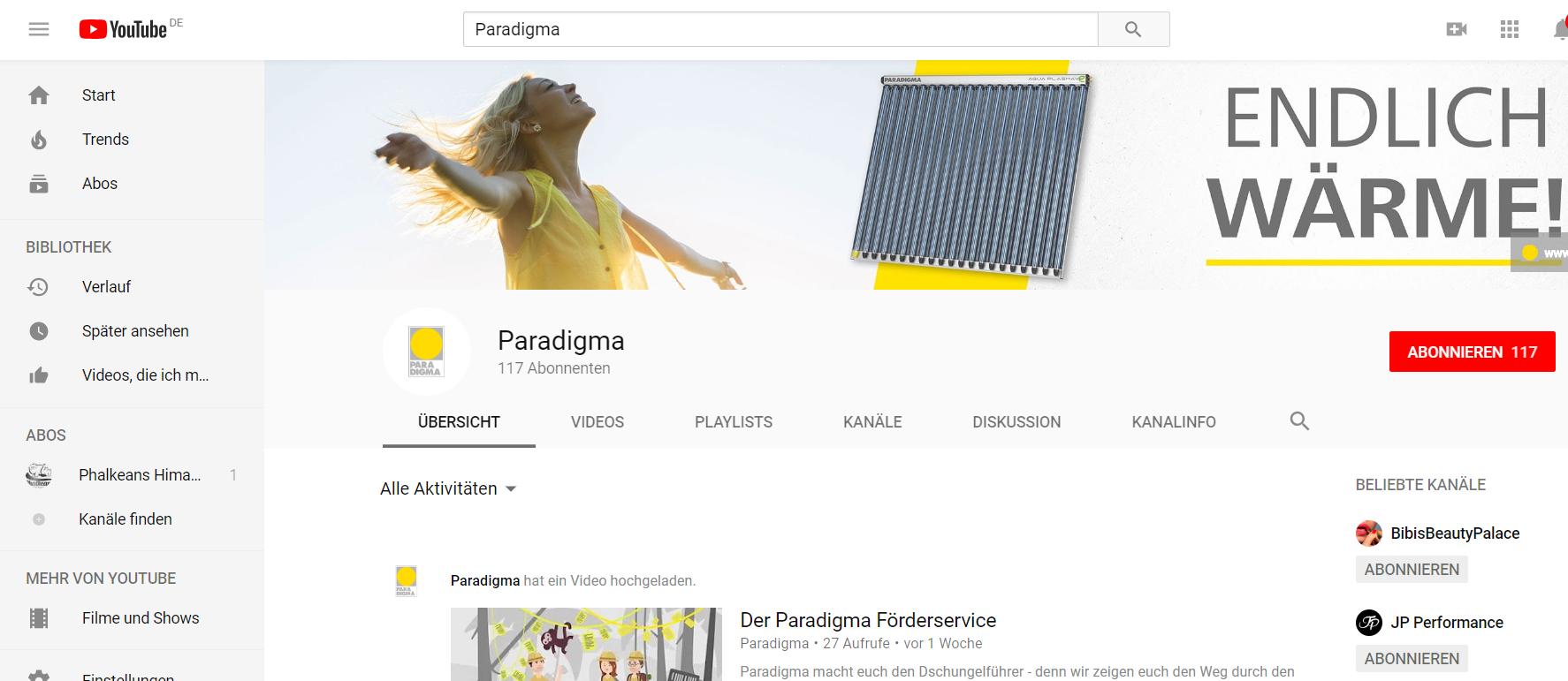 Youtube-Kanal von Paradigma_Suche auf Youtube_Paradigma_Kanal_Start