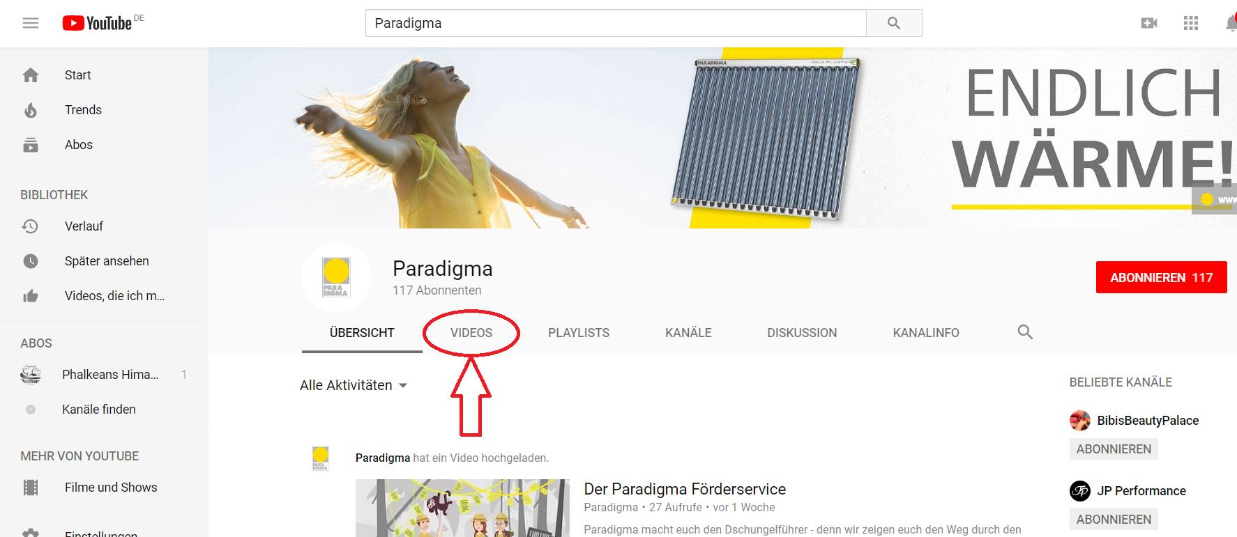 Youtube-Kanal von Paradigma_Suche auf Youtube_Paradigma_Kanal_Start_Videos anzeigen