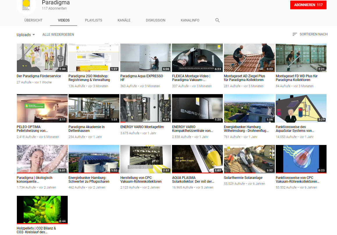 Youtube-Kanal von Paradigma_Suche auf Youtube_Paradigma_Kanal_Start_alle Videos