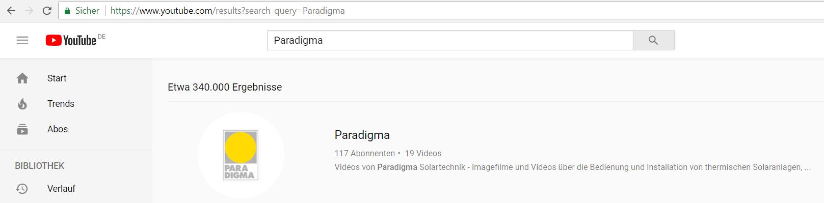 Youtube-Kanal von Paradigma_Suche auf Youtube_Suchergebnis_Paradigma