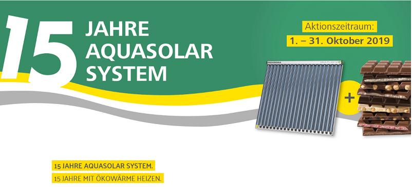 15 Jahre AquaSolar System - Schokolade für Paradigma Solarthermie-Kollektoren
