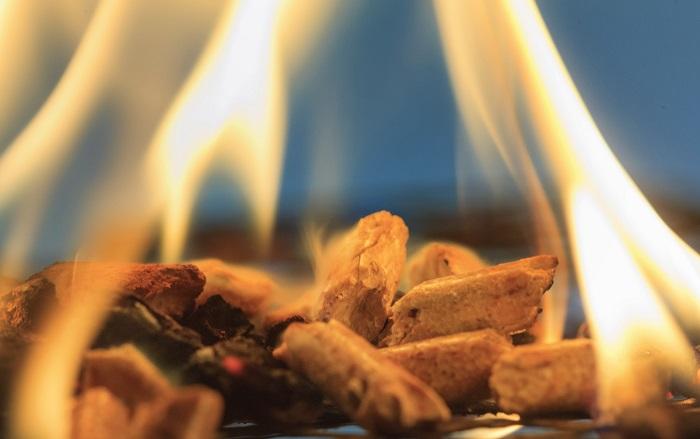 Brennende Holzpellets Aktion holz+pellets