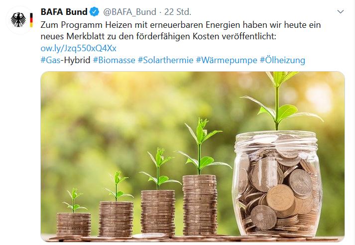 Förderübersicht BAFA_Merkblatt foerderfaehige Kosten Heizen mit erneuerbaren Energien 2020 Twitter