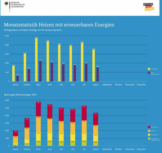 Monatsstatistik Heizen mit erneuerbaren EnergienBAFA-Antragszahlen Juli August Waermeerzeuger 2020