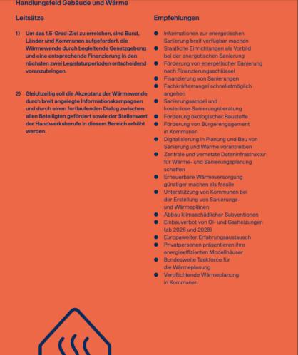 Bürgerrat Klima - Handlungsfeld Gebäude und Wärme Leitsätze und Empfehlungen